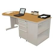 "Marvel® Zapf® Featherstone 75"" x 30"" Laminate Teachers Conference Desk W/Bookcase; Solar Oak"
