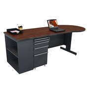 "Marvel® Zapf® Dark Neutral 87"" x 30"" Laminate Teachers Conference Desk W/Bookcase, Figured Mahogany"