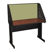 "Marvel® Pronto® Dark Neutral 48"" x 30"" Laminate Training Table W/Carrel & Modesty Panel, Peridot"