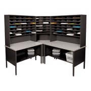 "Marvel® Mailroom 70"" -  78"" x 90"" x 90"" 84 Slot Corner Literature Organizer, Black"