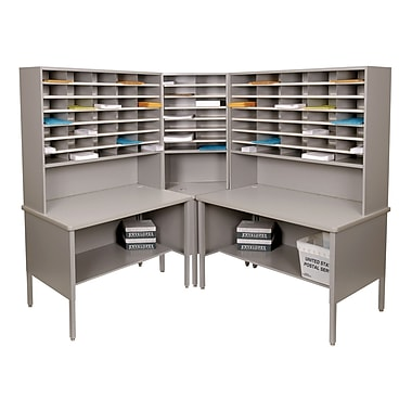 Marvel® Mailroom 70in. -  78in. x 90in. x 90in. 84 Slot Corner Literature Organizer, Gray