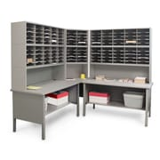 "Marvel® Mailroom 70"" -  78"" x 90"" x 30"" 120 Slot Corner Literature Organizer, Gray"