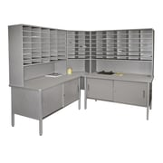 Marvel® Mailroom 70 -  78 x 90 x 30 84 Slot Corner Literature Organizer With Cabinet, Gray