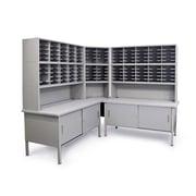 Marvel® Mailroom 70 -  78 x 90 x 30 120 Slot Corner Literature Organizer W/Cabinet, Gray
