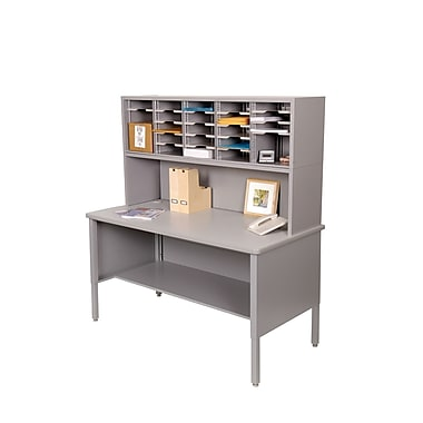 Marvel® Mailroom 60in. -  68in. x 60in. x 30in. 25 Slot Literature Organizer With Riser, Gray