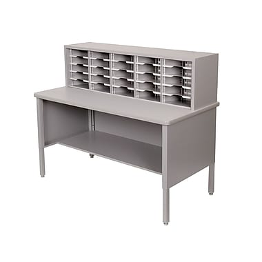 Marvel® Mailroom 44in. - 52in. x 60in. x 30in. 25 Slot Literature Organizer, Gray