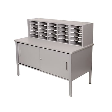 Marvel® Mailroom 44in. - 52in. x 60in. x 30in. 25 Slot Literature Organizer With Cabinet, Gray