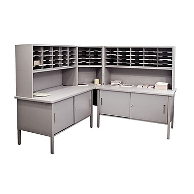 Marvel® Mailroom 60in. -  68in. x 90in. x 30in. 60 Slot Literature Organizer With Cabinet, Gray