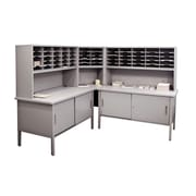 Marvel® Mailroom 60 -  68 x 90 x 30 60 Slot Literature Organizer With Cabinet, Gray