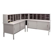 "Marvel® Mailroom 44"" -  60"" x 90"" x 30"" 60 Slot Literature Organizer With Cabinet, Gray"