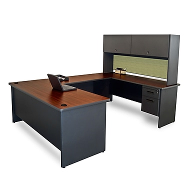 Marvel® Pronto® 8'6in. x 6' Laminate U-Shaped Desk W/Flipper Door Unit; Peridot