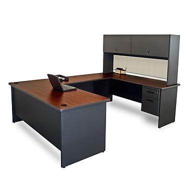 Marvel® Pronto® 8'6in. x 6' Laminate U-Shaped Desk W/Flipper Door Unit; Chalk