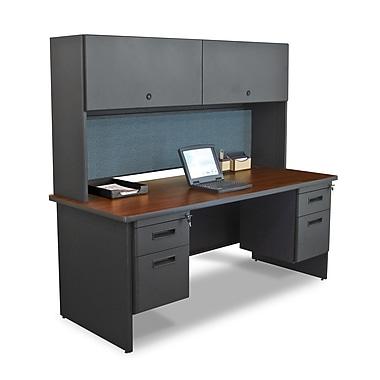 Marvel® Pronto® 72in. x 30in. Laminate Double Pedestal Desk W/Flipper Door Cabinet; Slate