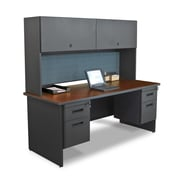 Marvel® Pronto® 72 x 30 Laminate Double Pedestal Desk W/Flipper Door Cabinet; Slate
