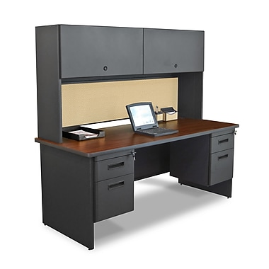 Marvel® Pronto® Dark Neutral 72in. x 30in. Laminate Double Pedestal Desks W/Flipper Door Cabinet
