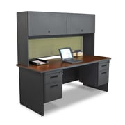 "Marvel® Pronto® 72"" x 30"" Laminate Double Pedestal Desk W/Flipper Door Cabinet; Peridot"
