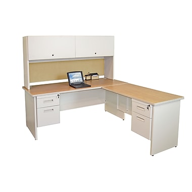 Marvel® Pronto® Pumice 72in. x 78in. Laminate Desks W/Return & Pedestal