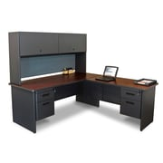 "Marvel® Pronto® 72"" x 78"" Laminate Desk W/Return & Pedestal; Slate"