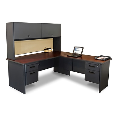 Marvel® Pronto® Dark Neutral 72in. x 78in. Laminate Desks W/Return & Pedestal