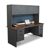 Marvel® Pronto® 72 x 24 Laminate Double Pedestal Credenza Desk W/Flipper Door; Slate