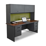 "Marvel® Pronto® 72"" x 24"" Laminate Double Pedestl Credenza Desk W/Flipper Door; Peridot"