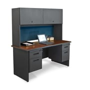 Marvel® Pronto® 60 x 24 Laminate Double Pedestal Credenza Desk W/Flipper Door; Slate