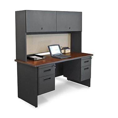 Marvel® Pronto® 60in. x 24in. Laminate Double Pedestal Credenza Desk W/Flipper Door; Chalk