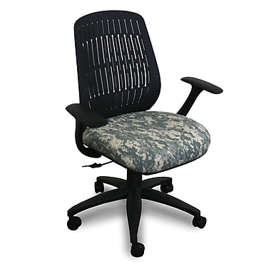 Marvel® Fermata® Fabric Mid-Back Wave Chairs W/Arms & Vinyl Back
