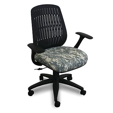 Marvel® Fermata® Fabric Mid-Back Wave Chair W/Arms & Vinyl Back, ACU Digital Camo