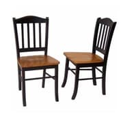 Boraam Rubberwood Shaker Dining Chair, Black/Oak, 2/Pack