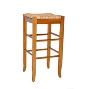 "Boraam 29"" Wood Square Rush Stool, Oak"