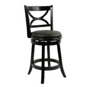 Boraam Florence 24 Wood Swivel Stool, Black Sandthru