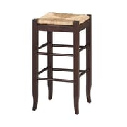 "Boraam 29"" Wood Square Rush Stool, Cappuccino"