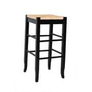 Boraam 29 Wood Square Rush Stool, Black