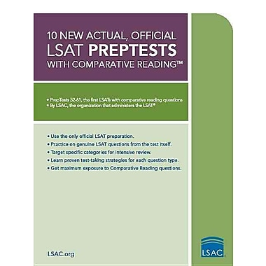 10 New Actual, Official LSAT PrepTests with Comparative Reading: (PrepTests 52-61) (LSAT Series), Used Book, (0984636006)