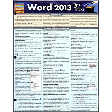 Word 2013 Tips & Tricks (Quick Study Computer)