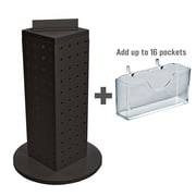 """Azar Displays 4"""" W x 12"""" H x 4"""" D 4-Sided Pegboard Gift Card Display With Revolving Base. Solid Black"""