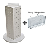 """Azar Displays 4"""" W x 12"""" H x 4"""" D 4-Sided Pegboard Gift Card Display With Revolving Base. Solid White"""