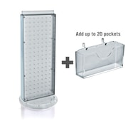 """Azar Displays 8"""" W x 20"""" H 2-Sided Pegboard Gift Card Display With Revolving Base. Translucent Clear"""