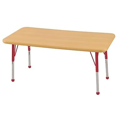 ECR4KidsMD – Table d'activités rectangulaire, 24 x 48 (po), avec pattes standards et embouts arrondis, érable/érable/rouge