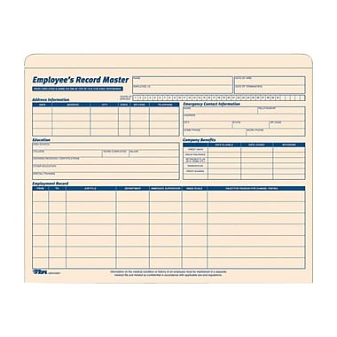 Tops® Employee File Record Jacket, 32801, 9-1/2