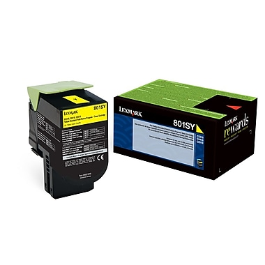 Lexmark™ 80C1SY0 Yellow Return Program Toner Cartridge, Standard Yield