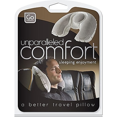 Go Travel Super Snoozer Inflatable Air-Fleece Foam Pillow, Grey