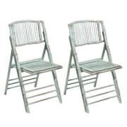Kenian Coastal Chic Folding Dining Side Chair (Set of 2); Antique Dusty Aqua