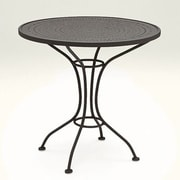 Woodard Parisienne 30'' Round Bistro Table with Pattern Metal Top; Hammered White