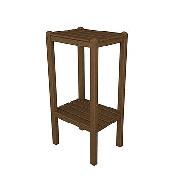 POLYWOOD Two Shelf Bar Height Side Table; Teak