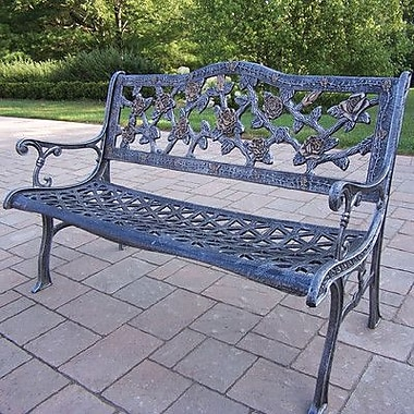 Oakland Living English Rose Aluminum Garden Bench; Antique Pewter