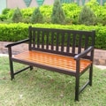 International Caravan Highland Acacia Wood Garden Bench; Black and Oak