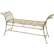 Oriental Furniture Rustic Iron Garden Bench; Distressed White