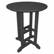 POLYWOOD  Traditional Round Dining Table; Slate Grey